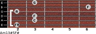 Am13#5/F# for guitar on frets 2, 3, 3, 2, 6, 3