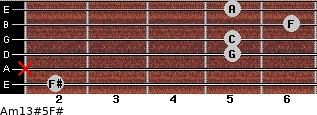 Am13#5/F# for guitar on frets 2, x, 5, 5, 6, 5