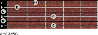 Am13#5/G for guitar on frets 3, 0, 3, 0, 1, 2