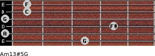 Am13#5/G for guitar on frets 3, 0, 4, 0, 1, 1