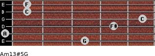 Am13#5/G for guitar on frets 3, 0, 4, 5, 1, 1