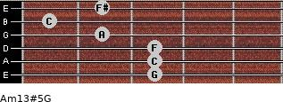 Am13#5/G for guitar on frets 3, 3, 3, 2, 1, 2