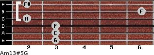 Am13#5/G for guitar on frets 3, 3, 3, 2, 6, 2