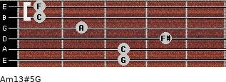 Am13#5/G for guitar on frets 3, 3, 4, 2, 1, 1