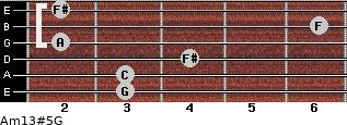 Am13#5/G for guitar on frets 3, 3, 4, 2, 6, 2