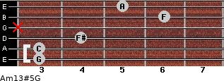 Am13#5/G for guitar on frets 3, 3, 4, x, 6, 5