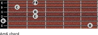 Am6 for guitar on frets 5, 0, 2, 2, 1, 2