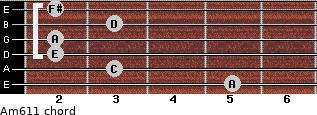 Am6/11 for guitar on frets 5, 3, 2, 2, 3, 2