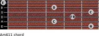Am6/11 for guitar on frets 5, 3, 4, 5, 3, 0