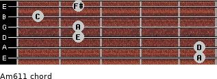 Am6/11 for guitar on frets 5, 5, 2, 2, 1, 2
