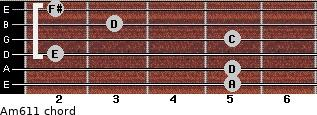 Am6/11 for guitar on frets 5, 5, 2, 5, 3, 2