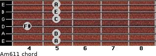 Am6/11 for guitar on frets 5, 5, 4, 5, 5, 5