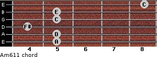 Am6/11 for guitar on frets 5, 5, 4, 5, 5, 8