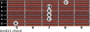 Am6/11 for guitar on frets 5, 7, 7, 7, 7, 8