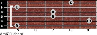 Am6/11 for guitar on frets 5, 9, 7, 7, 5, 8