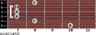 Am6/11#5/D for guitar on frets 10, 8, 7, 7, 7, 8