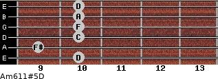 Am6/11#5/D for guitar on frets 10, 9, 10, 10, 10, 10