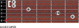 Am6/11#5/D for guitar on frets x, 5, 4, 2, 1, 1