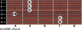 Am6/9/B for guitar on frets 7, 7, 4, 5, 5, 5