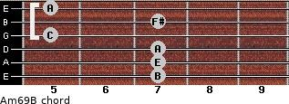Am6/9/B for guitar on frets 7, 7, 7, 5, 7, 5