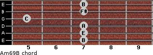 Am6/9/B for guitar on frets 7, 7, 7, 5, 7, 7