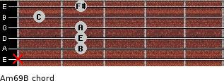 Am6/9/B for guitar on frets x, 2, 2, 2, 1, 2