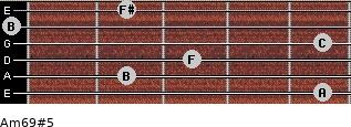 Am6/9#5 for guitar on frets 5, 2, 3, 5, 0, 2