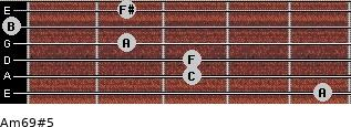 Am6/9#5 for guitar on frets 5, 3, 3, 2, 0, 2