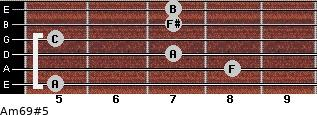 Am6/9#5 for guitar on frets 5, 8, 7, 5, 7, 7