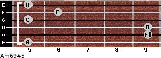 Am6/9#5 for guitar on frets 5, 9, 9, 5, 6, 5