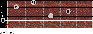 Am6/9#5 for guitar on frets x, 0, 3, 4, 1, 2