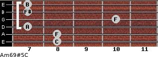 Am6/9#5/C for guitar on frets 8, 8, 7, 10, 7, 7