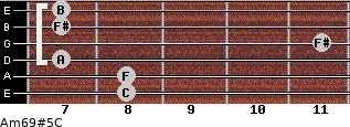 Am6/9#5/C for guitar on frets 8, 8, 7, 11, 7, 7