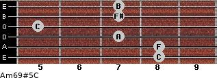 Am6/9#5/C for guitar on frets 8, 8, 7, 5, 7, 7