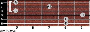 Am6/9#5/C for guitar on frets 8, 8, 9, 5, 7, 5