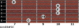 Am6/9#5/C for guitar on frets 8, 9, 10, 10, 10, 7