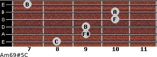 Am6/9#5/C for guitar on frets 8, 9, 9, 10, 10, 7