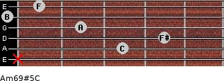 Am6/9#5/C for guitar on frets x, 3, 4, 2, 0, 1