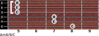 Am6/9/C for guitar on frets 8, 7, 7, 5, 5, 5