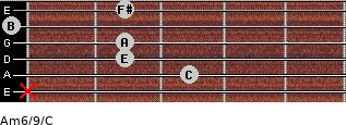 Am6/9/C for guitar on frets x, 3, 2, 2, 0, 2