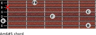 Am6#5 for guitar on frets 5, 0, 3, 5, x, 2
