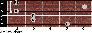 Am6#5 for guitar on frets 5, 3, 3, 2, 6, 2