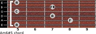 Am6#5 for guitar on frets 5, 8, 7, 5, 7, 5