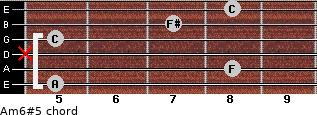 Am6#5 for guitar on frets 5, 8, x, 5, 7, 8