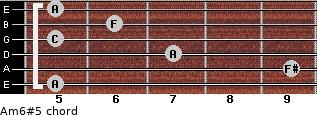 Am6#5 for guitar on frets 5, 9, 7, 5, 6, 5