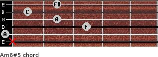 Am6#5 for guitar on frets x, 0, 3, 2, 1, 2