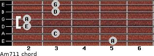 Am7/11 for guitar on frets 5, 3, 2, 2, 3, 3