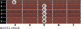Am7/11 for guitar on frets 5, 5, 5, 5, 5, 3