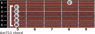 Am7/11 for guitar on frets 5, 5, 5, 5, 5, 8