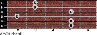 Am7/4 for guitar on frets 5, 5, 2, 5, 3, 3